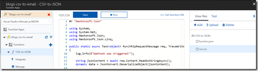 AZUREportal Ent Integration and LogicApp create 19 blogs-csv-to-email create a new functionappCSV-to-JSON code
