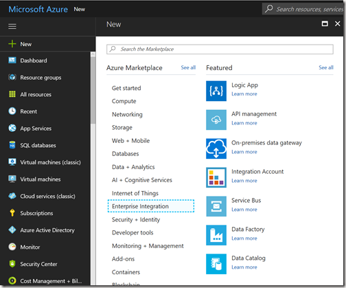 AZUREportal Ent Integration and LogicApp create 1