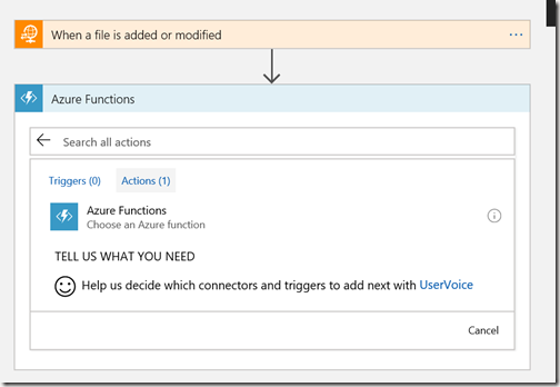 AZUREportal Ent Integration and LogicApp create 21 add function app to Logic app
