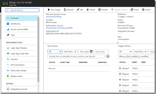 AZUREportal Ent Integration and LogicApp create 36 add function app to Logic app TESTI
