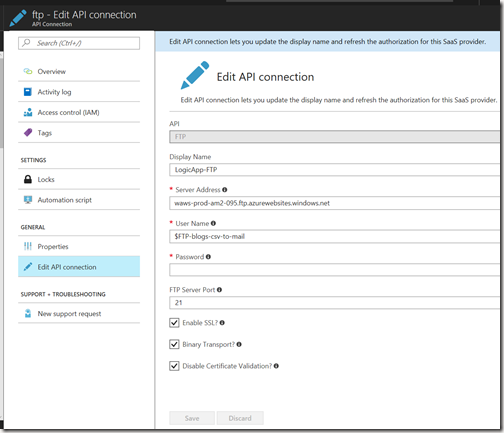 AZUREportal Ent Integration and LogicApp create 39 add function app to Logic app FTP settings