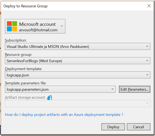 AZUREportal Ent Integration and LogicApp create 65 add function app to Logic app deployment