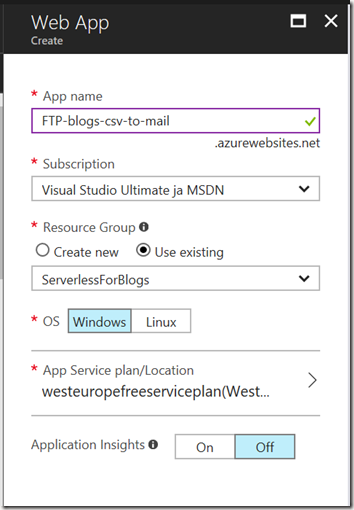 AZUREportal Ent Integration and LogicApp create 7 blogs-csv-to-email create FTP webapp